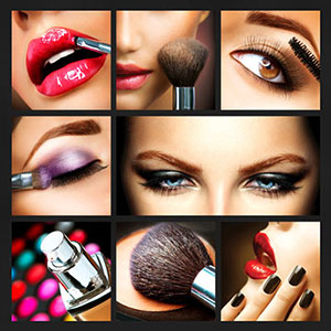 Collage of a woman doing makeup.