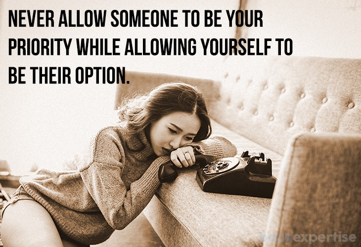 """Image of getting over a breakup with quote """"never allow someone to be your priority while allowing yourself to be their option"""""""